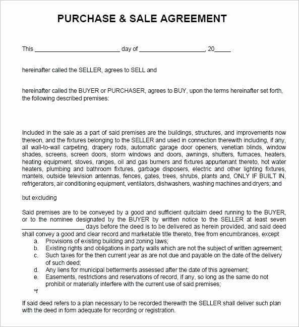 Simple Sales Agreement Template Fresh Sales Agreement Example Simple Buy Sell form Real Estate