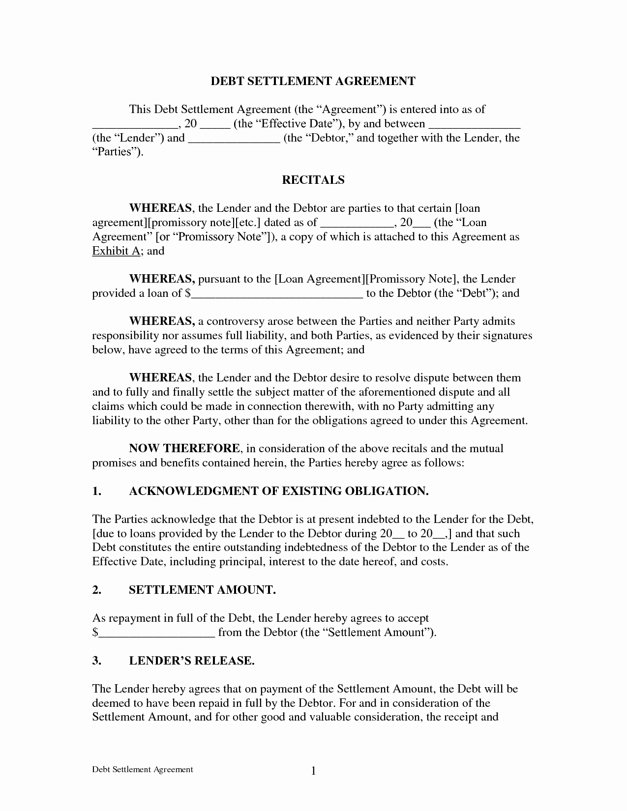 Simple Settlement Agreement Template Beautiful Agreement Debt Settlement Agreement form