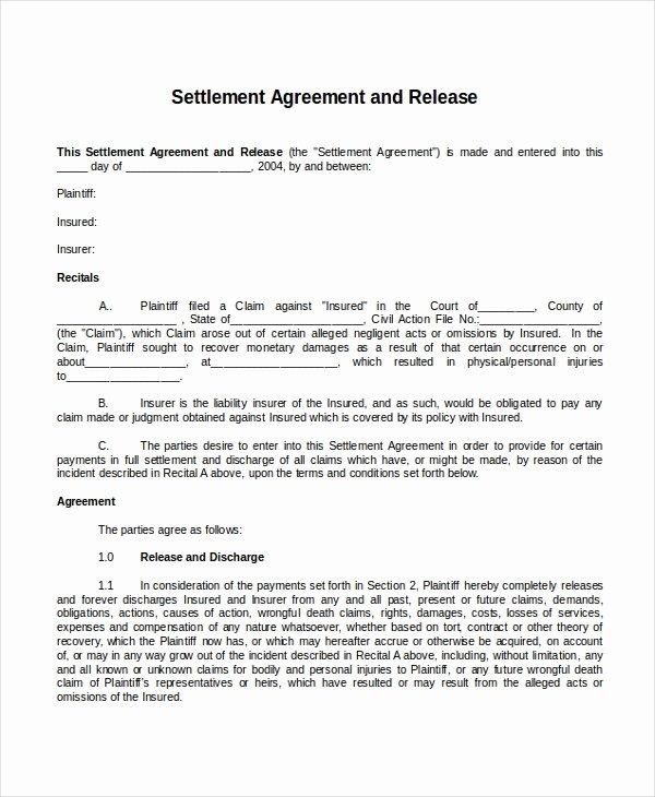 Simple Settlement Agreement Template Fresh 22 Agreement Templates Free Sample Example format