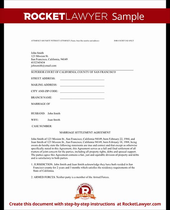 Simple Settlement Agreement Template Fresh Divorce Settlement Agreement Template with Sample