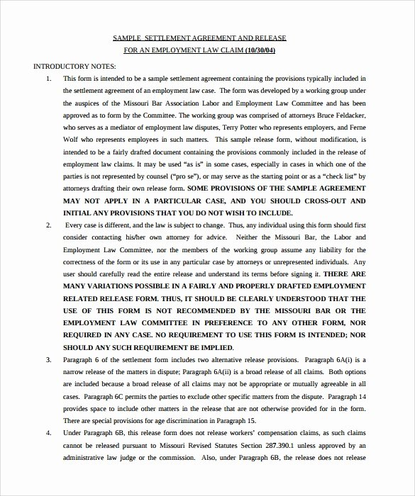 Simple Settlement Agreement Template Inspirational 12 Sample Settlement Agreements
