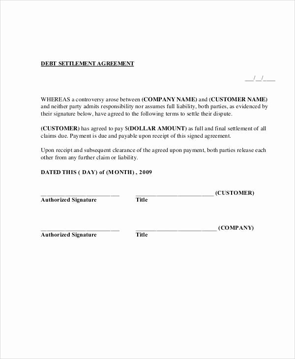 Simple Settlement Agreement Template Inspirational 65 Simple Agreements