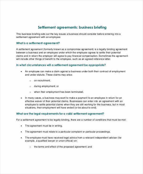 Simple Settlement Agreement Template Inspirational Confidentiality Settlement Agreement – 10 Free Word Pdf