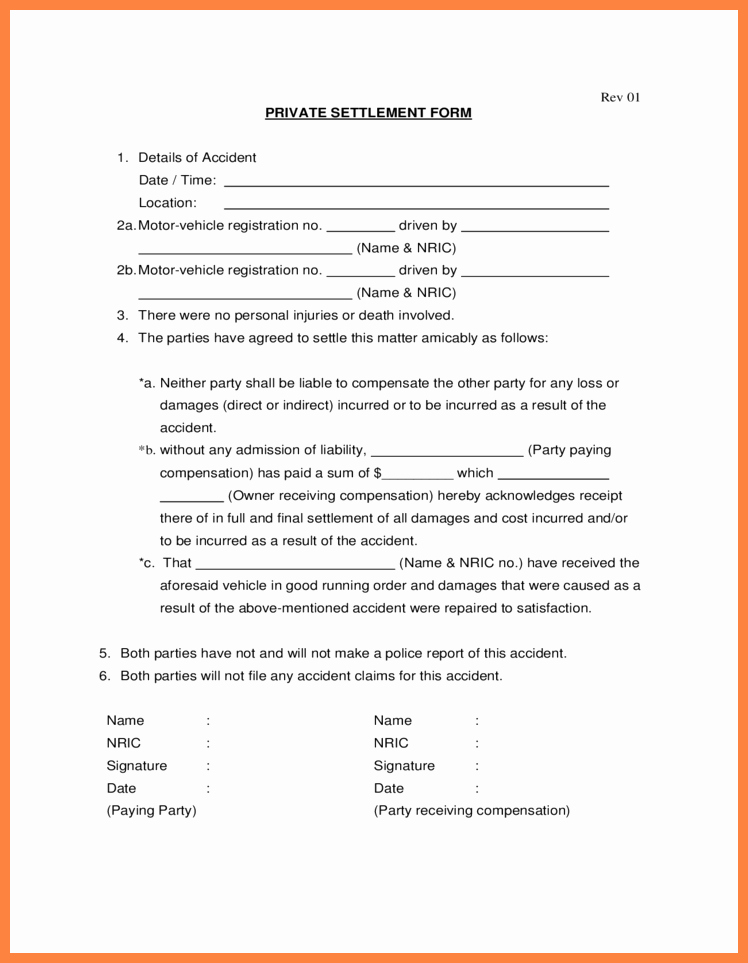Simple Settlement Agreement Template Luxury Car Accident Settlement Agreement form