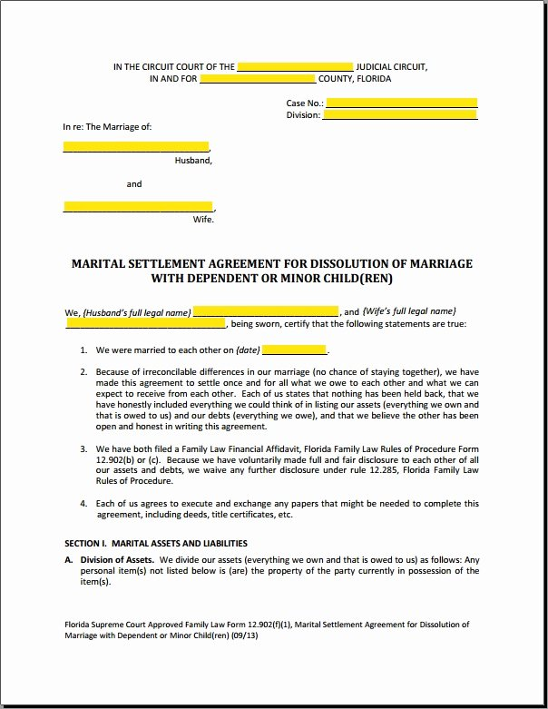 Simple Settlement Agreement Template New Divorce Settlement Agreement Sample Simple Marital