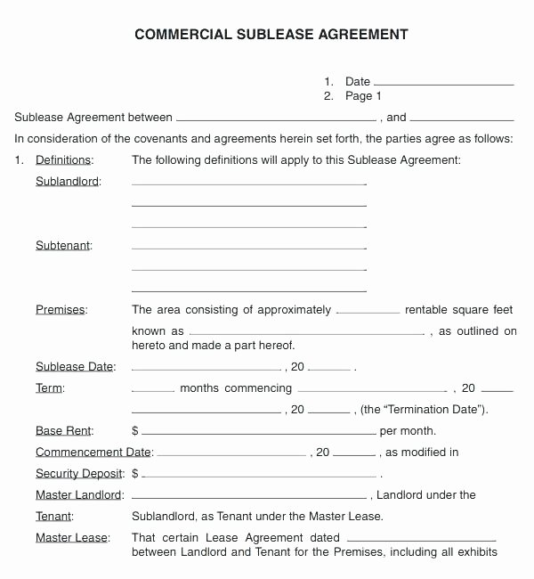 Simple Sublease Agreement Template Awesome Free Fice Lease Agreement Template Tenancy Ideas