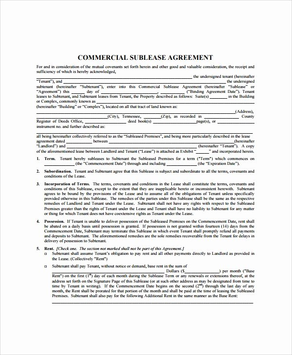 Simple Sublease Agreement Template Best Of 9 Mercial Sublease Agreements