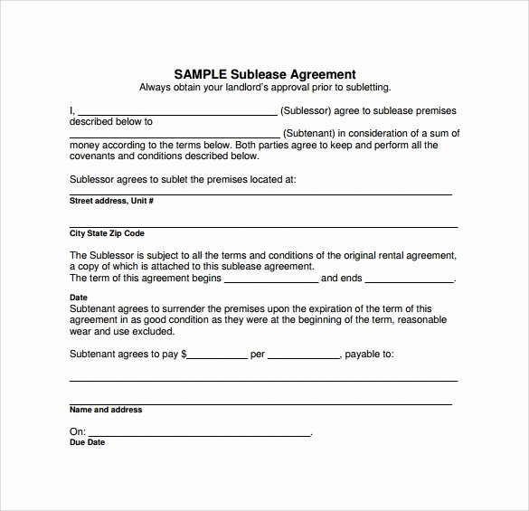Simple Sublease Agreement Template Elegant Sublease Agreement 18 Download Free Documents In Pdf Word