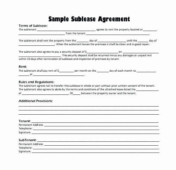 Simple Sublease Agreement Template Fresh Tenancy Agreement Template Free Download Residential