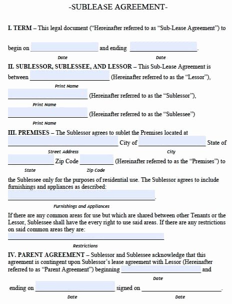 Simple Sublease Agreement Template Inspirational Free Alaska Sublease Agreement form – Pdf Template