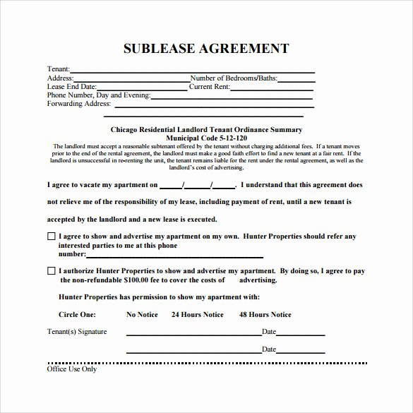 Simple Sublease Agreement Template Inspirational Sublease Agreement Template