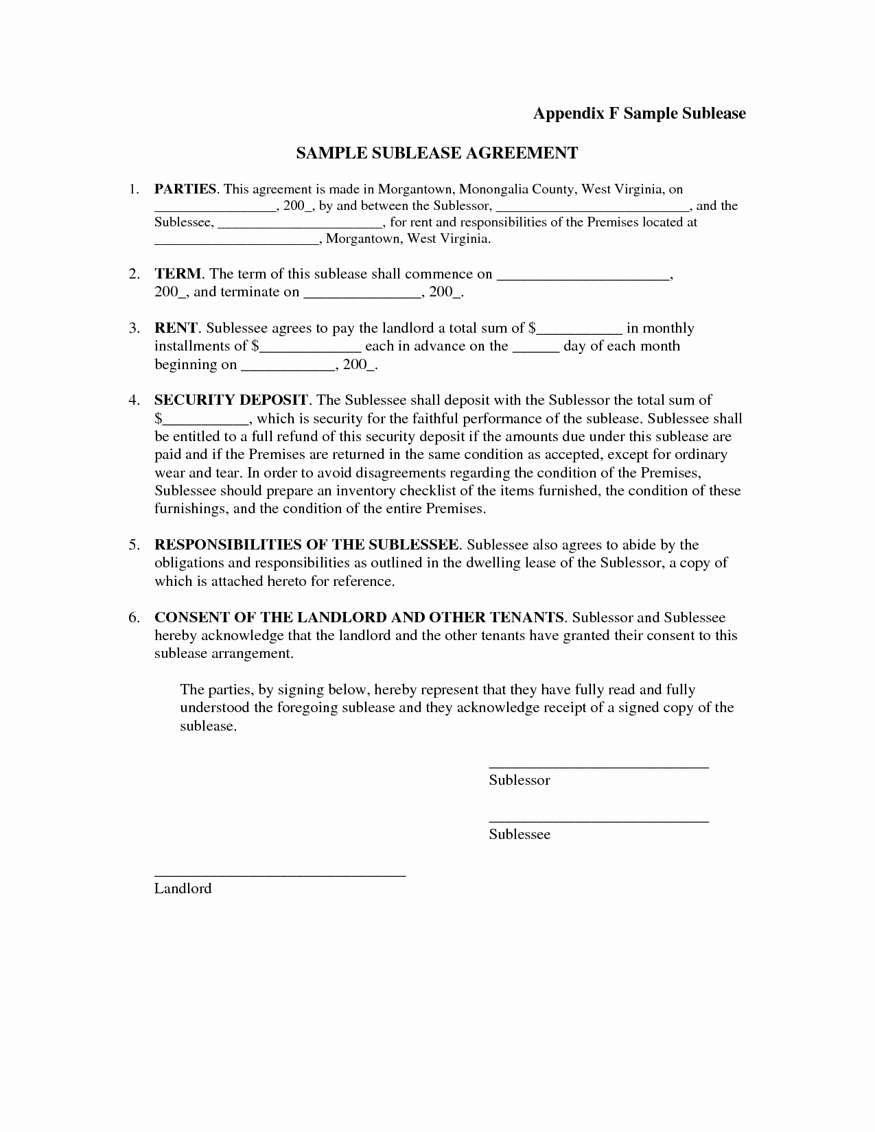Simple Sublease Agreement Template Unique Basic Sublet Agreement Portablegasgrillweber