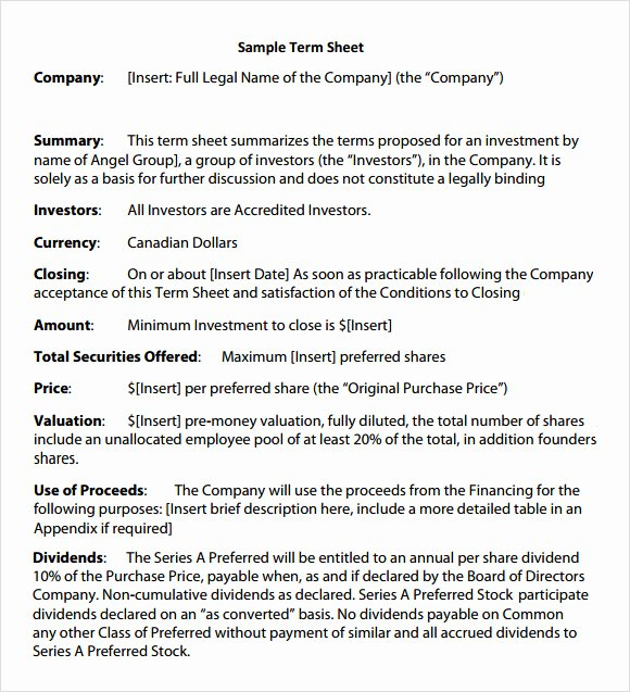 Simple Term Sheet Template Inspirational 14 Sample Term Sheet Templates to Download