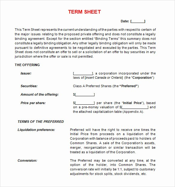 Simple Term Sheet Template Lovely 14 Sample Term Sheet Templates to Download