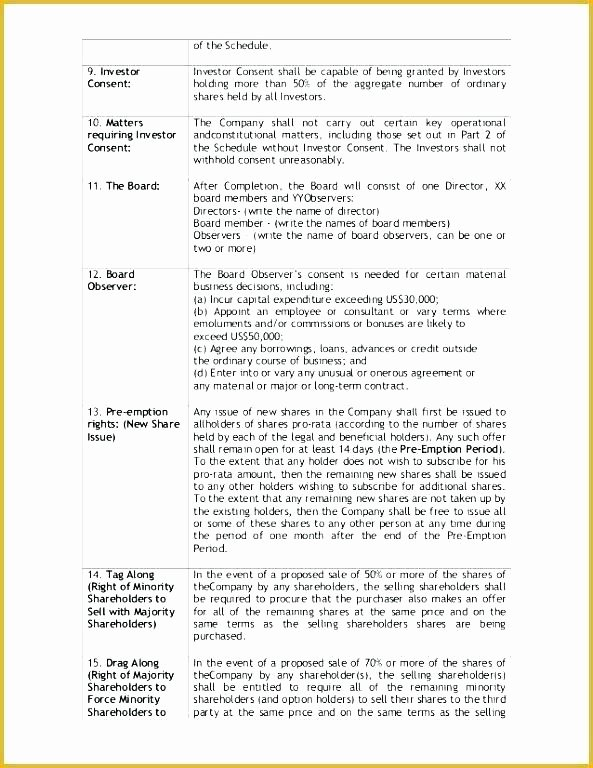 Simple Term Sheet Template Lovely Angel Investor Contract Template
