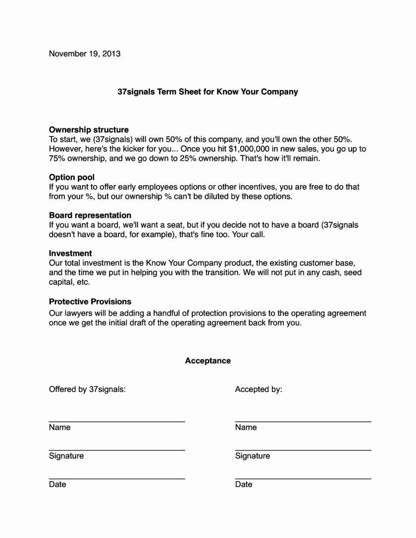 Simple Term Sheet Template Luxury Simple Term Sheet Template