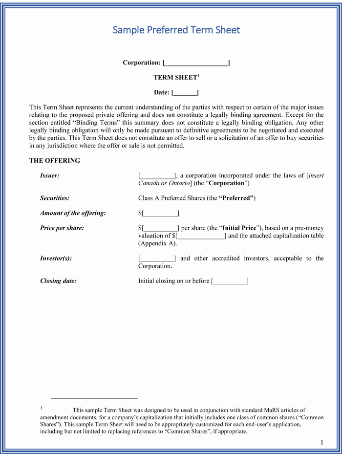 Simple Term Sheet Template New Choose From 9 Term Sheet Templates