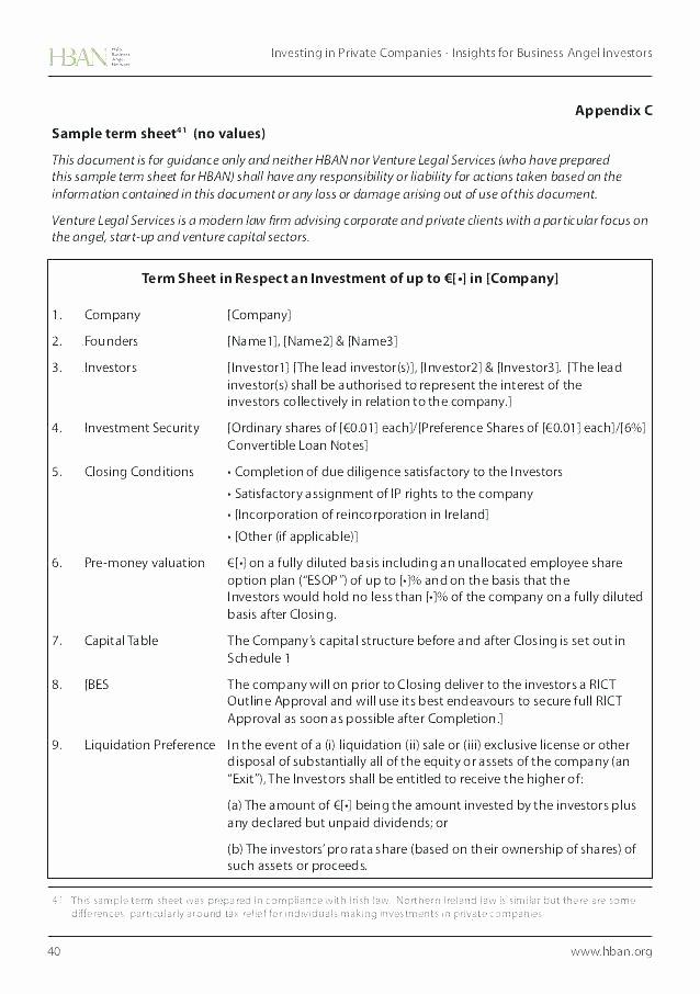 Simple Term Sheet Template New Template Simple Term Sheet Sample 4 Design Free Templates