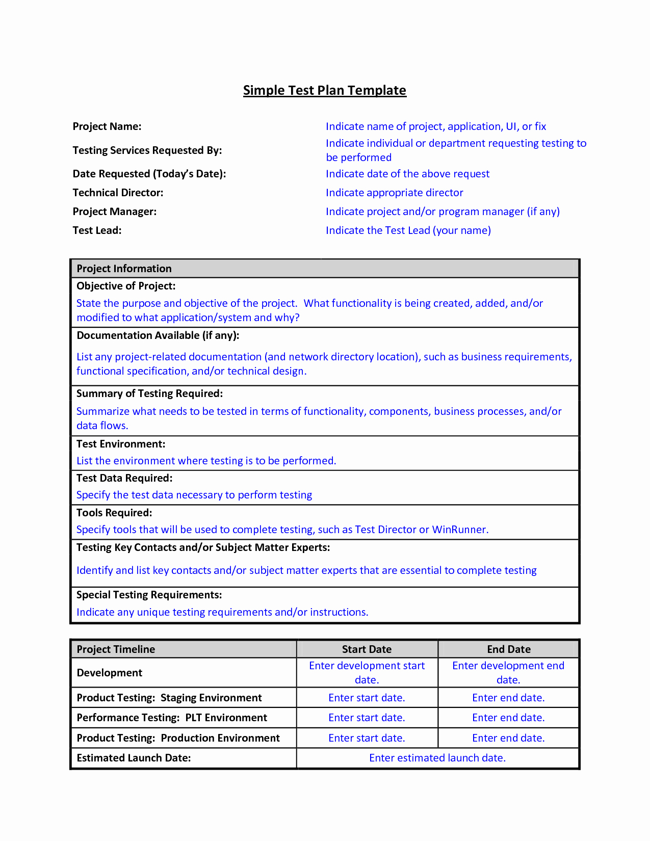 Simple Test Plan Template Fresh Test Plan Template format Sample Work Word Simple