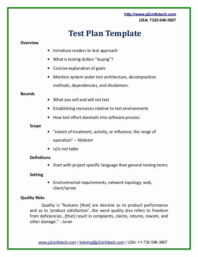 Simple Test Plan Template Unique Sample Test Plan Doc