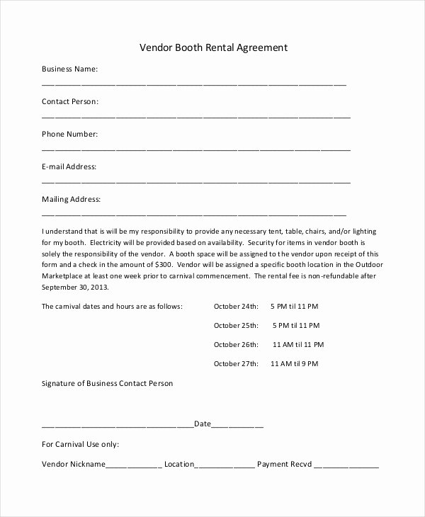 Simple Vendor Agreement Template New 18 Booth Rental Agreement Templates Free Downloadable