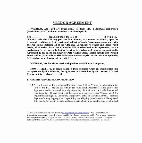 Simple Vendor Agreement Template Unique 25 Sample Vendor Agreement Templates Pdf Doc