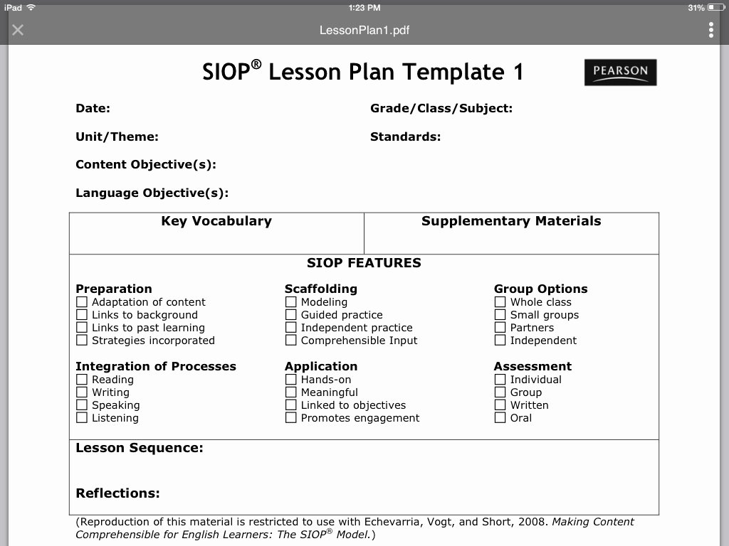 Siop Lesson Plan Template Awesome Siop Lesson Plan Template 1 Thinglink