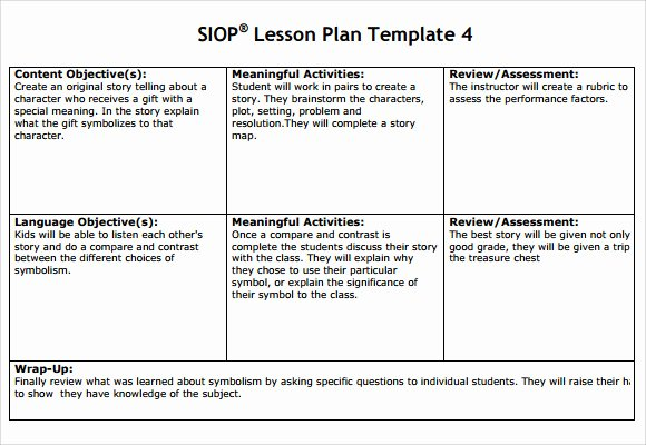 Siop Lesson Plan Template Elegant 9 Siop Lesson Plan Samples