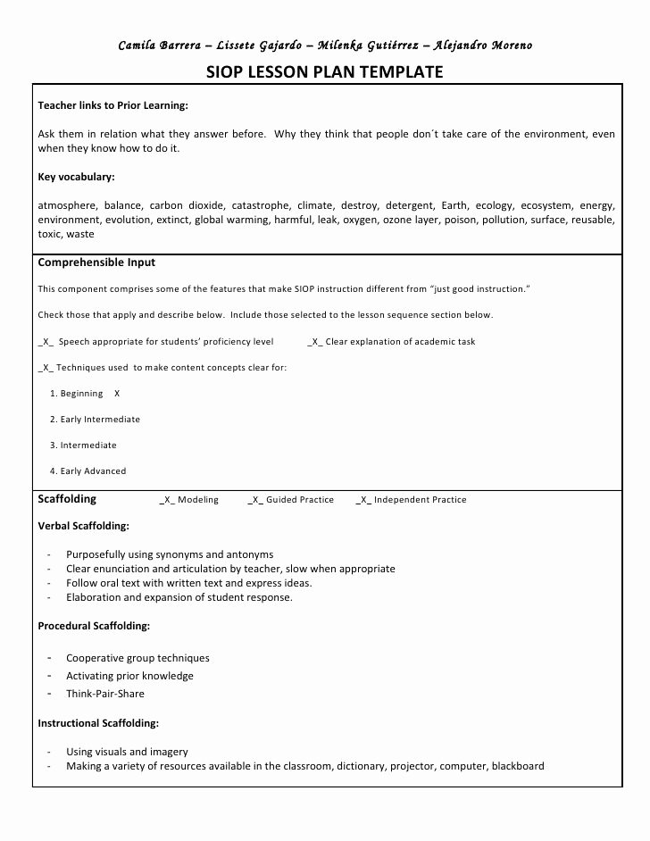 Siop Lesson Plan Template Elegant Siop Unit Lesson Plan Template Sei Model