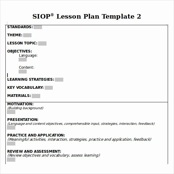 Siop Lesson Plan Template Fresh 9 Siop Lesson Plan Samples