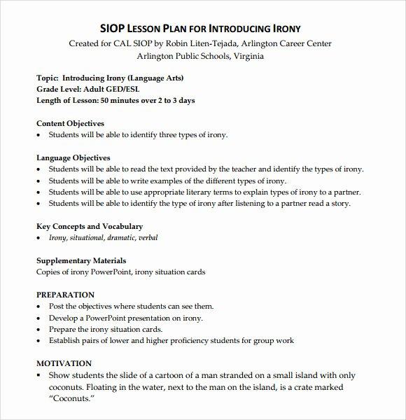 Siop Lesson Plan Template Fresh 9 Siop Lesson Plan Samples