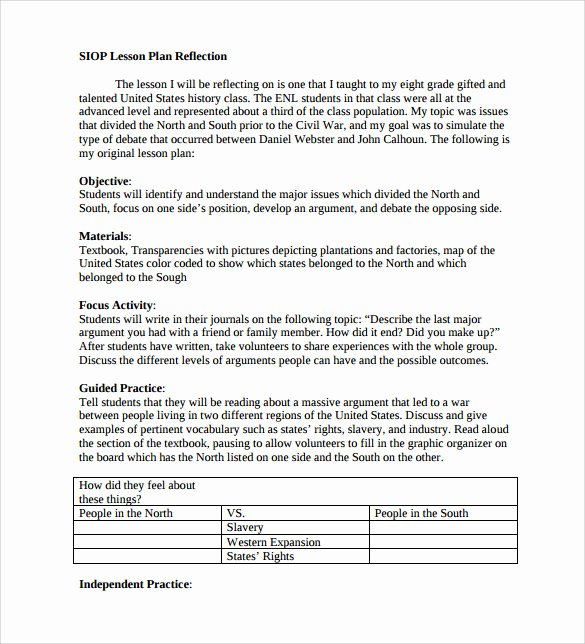 Siop Lesson Plan Template Inspirational Sample Siop Lesson Plan Templates – 10 Free Examples