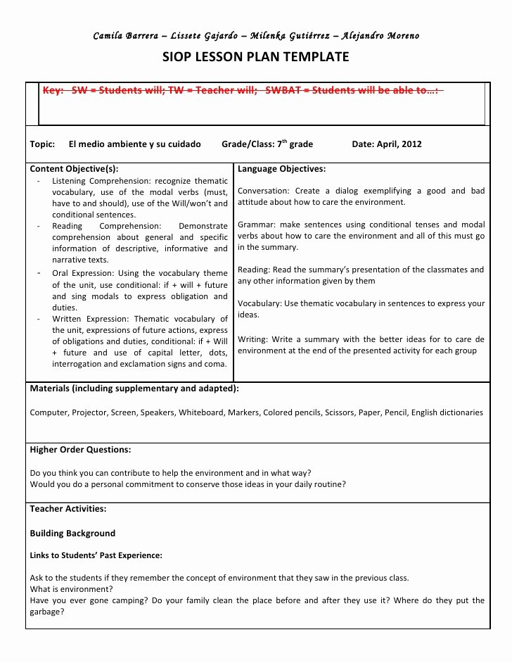 Siop Lesson Plan Template Inspirational Siop Unit Lesson Plan Template Sei Model
