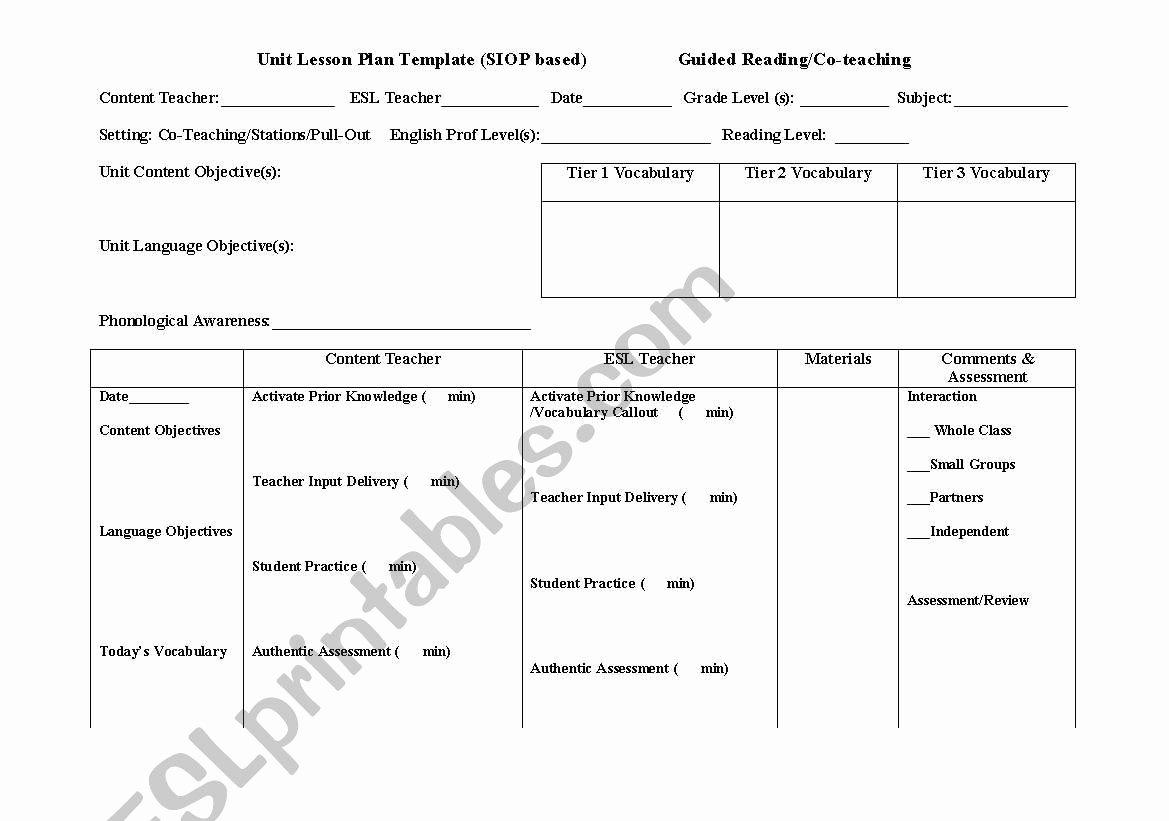 Siop Lesson Plan Template Unique English Worksheets Siop Lesson Plan Template for Co Teaching