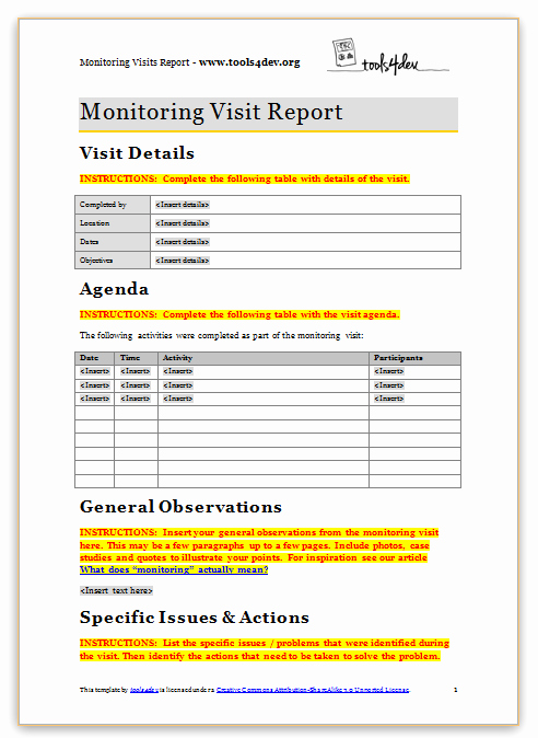 Site Visit Report Template New Monitoring Visit Report Template