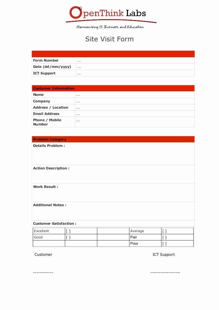 Site Visit Report Template New software Development Site Visit form Template