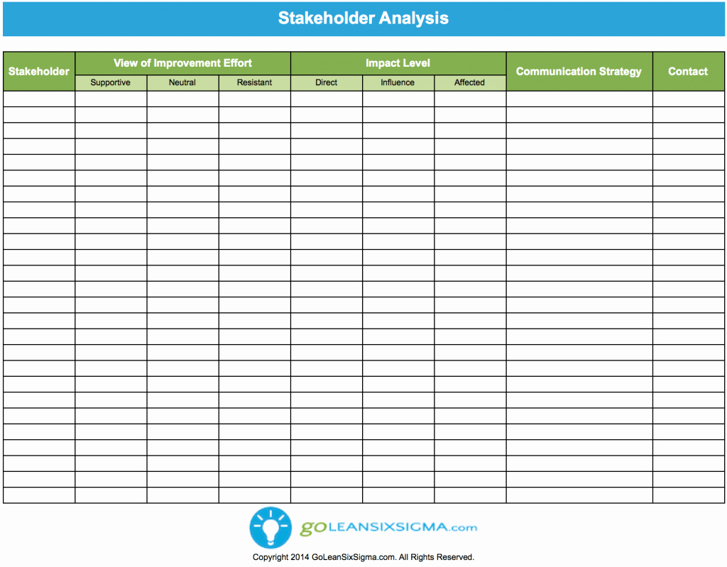 Six Sigma Template Excel Inspirational Stakeholder Analysis Template & Example