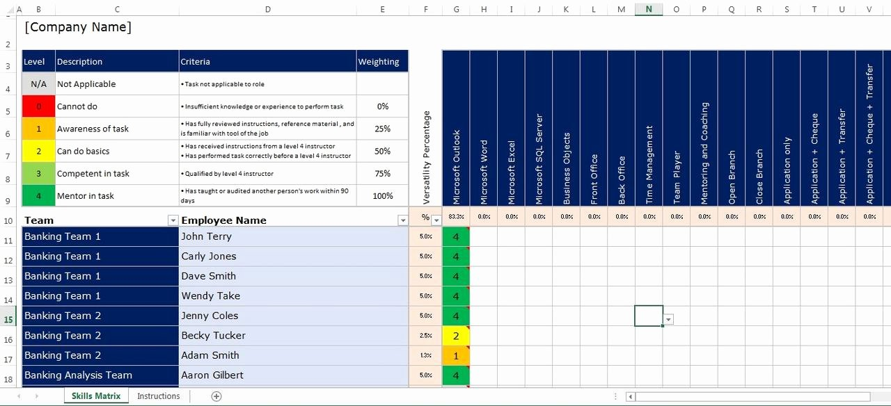 Skills Matrix Template Excel Beautiful Microsoft Excel Spreadsheet Employee Staff Fice