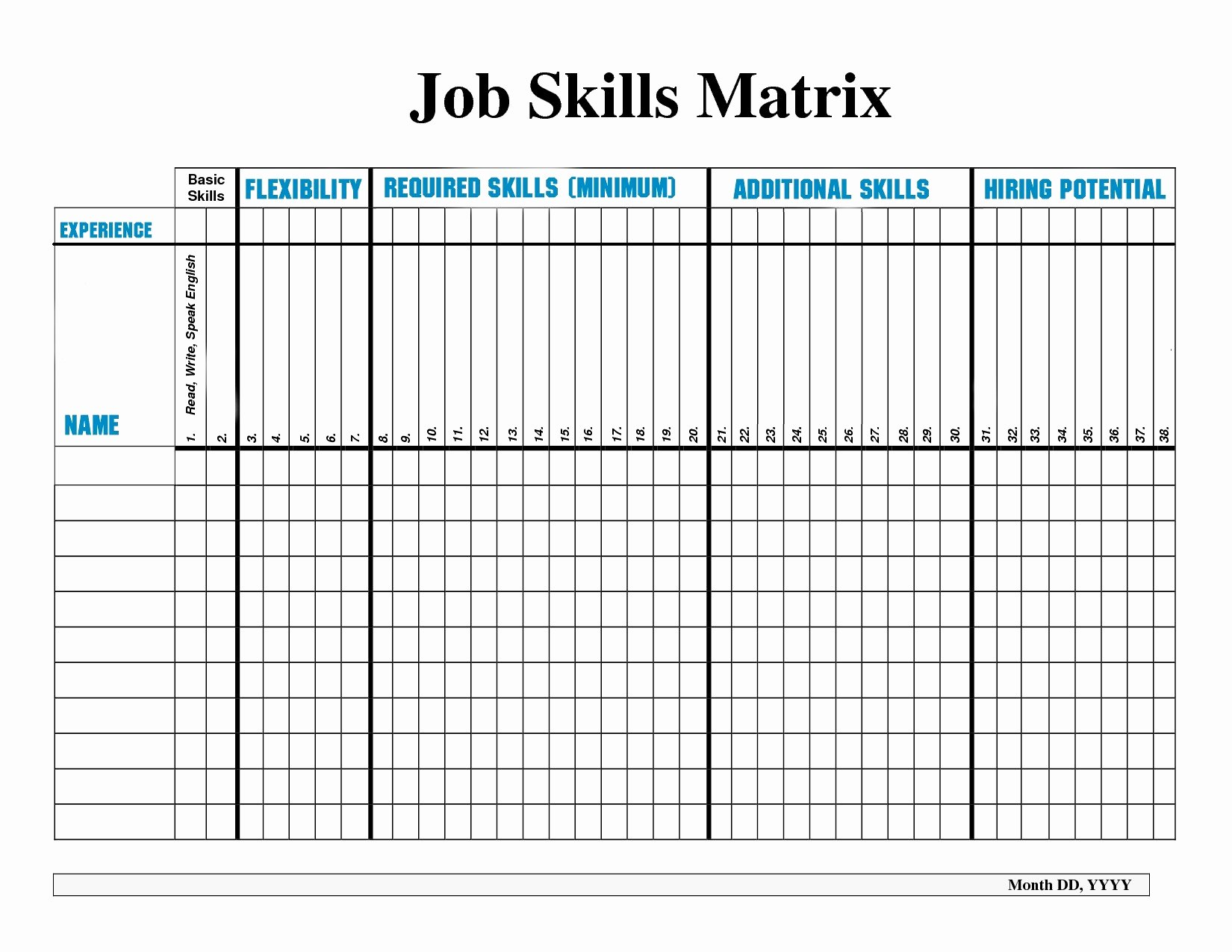 Skills Matrix Template Excel Best Of Employee Training Matrix Template Free Download