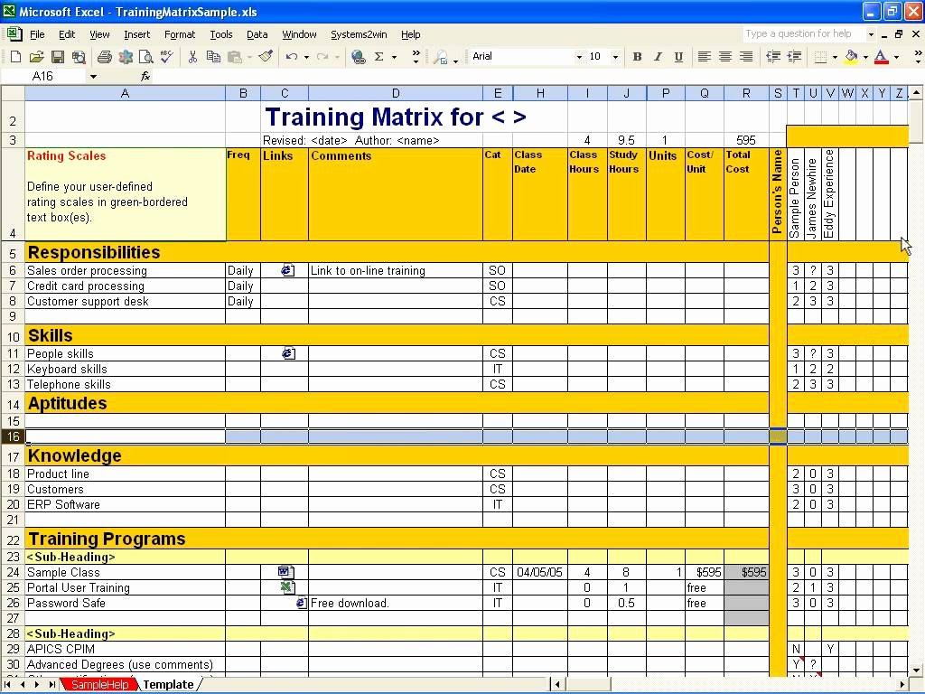 Skills Matrix Template Excel Unique Employee Training Matrix Template Excel