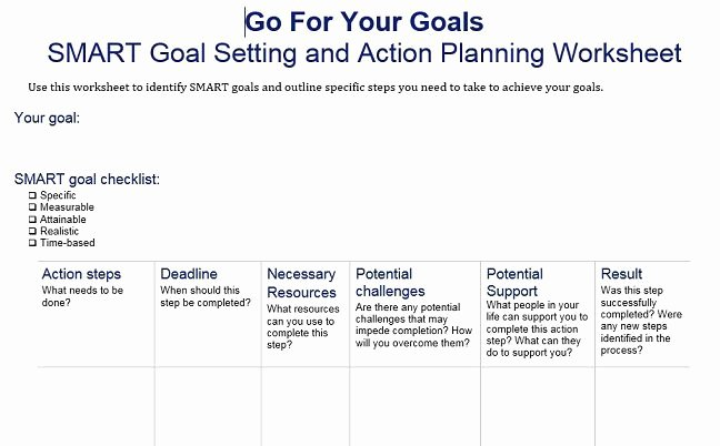 Smart Action Plan Template Beautiful 40 Smart Goals Templates Ready to Use Excel Pdf Word