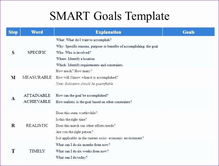 Smart Goals Template Excel Elegant 9 Goal Setting Excel Template Exceltemplates