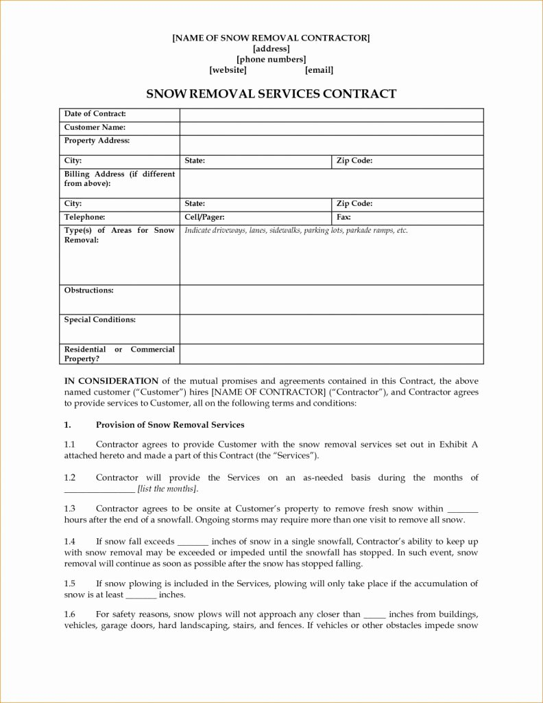 Snow Plow Contract Template Fresh Snow Removaltracts Template Mercialtract Fixed Seasonal