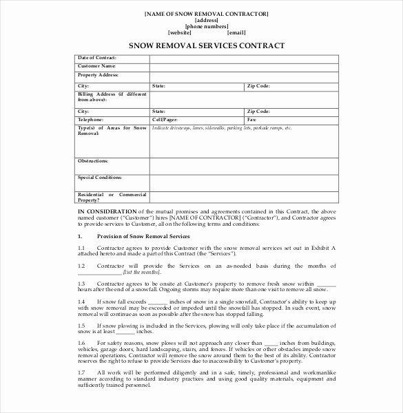 Snow Plow Contract Template Inspirational 20 Snow Plowing Contract Templates Google Docs Pdf