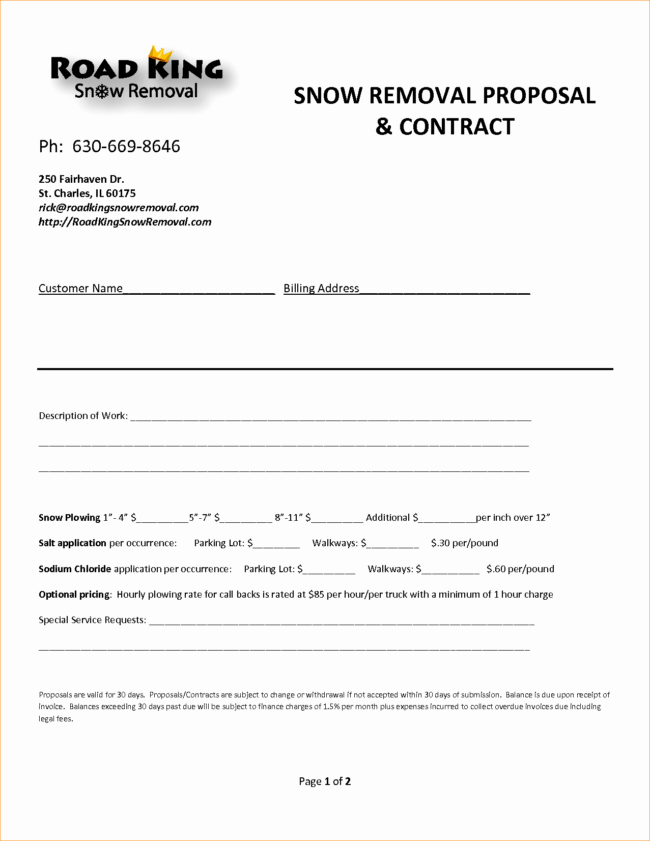 Snow Plow Contract Template Inspirational Contract Proposal Template Business Proposal Templated