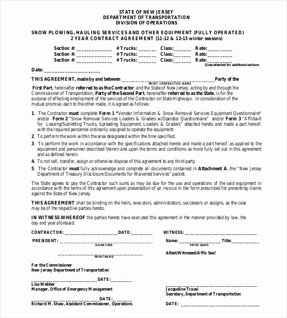 Snow Plow Contract Template New 20 Snow Plowing Contract Templates Google Docs Pdf