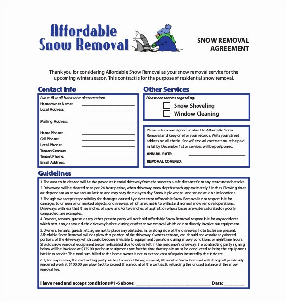 Snow Removal Bid Template Awesome 20 Snow Plowing Contract Templates Google Docs Pdf