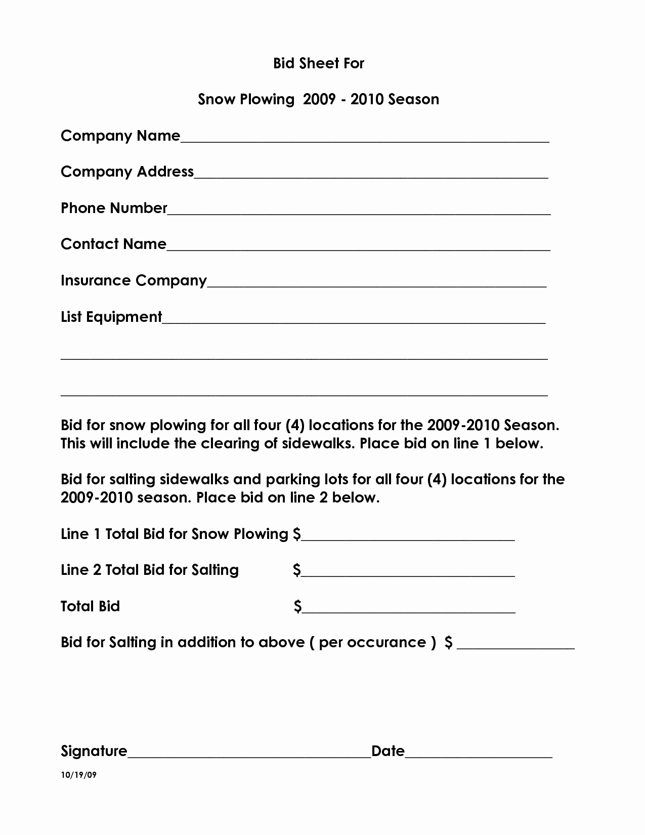 Snow Removal Bid Template Elegant 10 Best Of Snow Plow Proposal forms Snow Removal