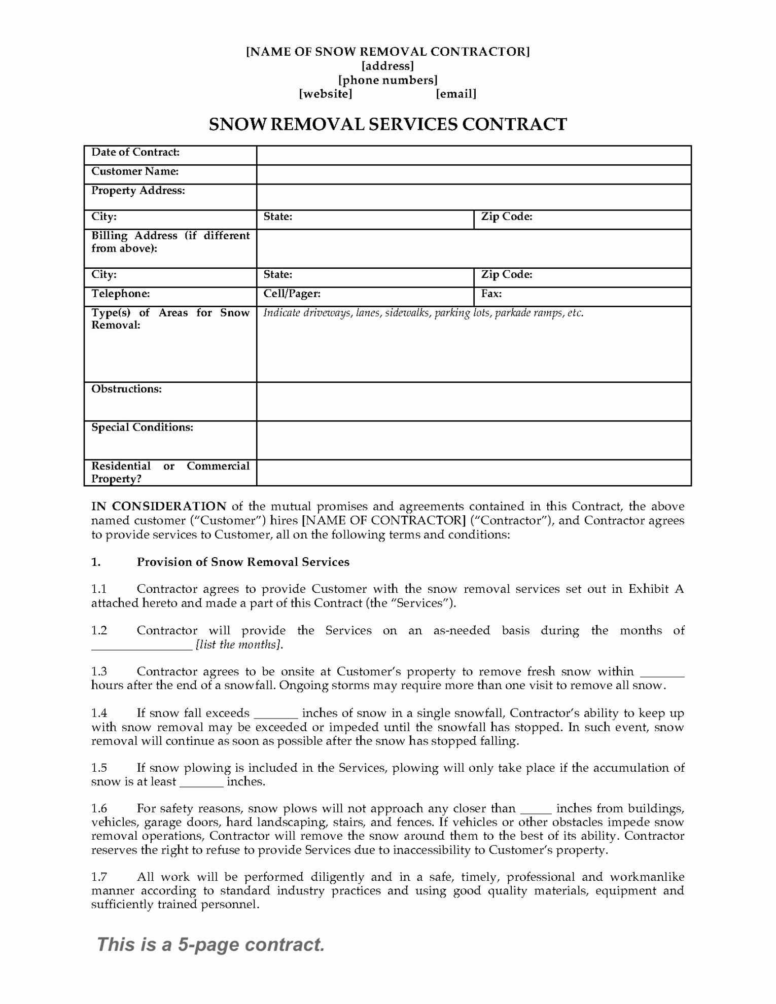 Snow Removal Bid Template Elegant Snow Removal Contract form