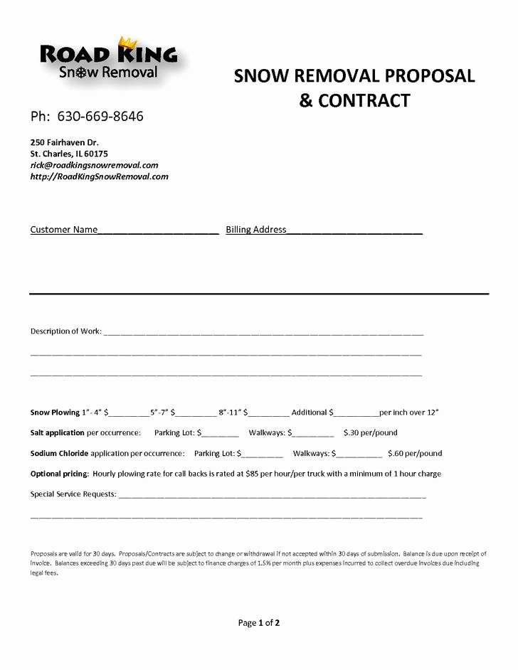Snow Removal Bid Template Lovely 20 Plowing Contract Templates Free Download